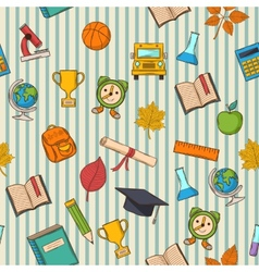 School pattern on striped bacground vector