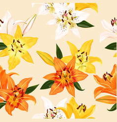 seamless pattern with lilies vector image