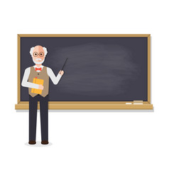 Senior teacher teaching in classroom vector