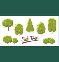 set abstract stylized trees in flat style vector image