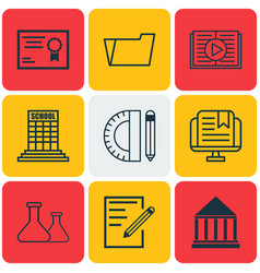 Set of 9 school icons includes education center vector