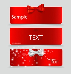 Set of card notes with beautiful gift bows vector
