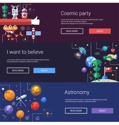 Set of flat design flyers and headers with space vector image