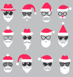 Set of santa hats glasses and beards vector