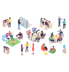 set office elements with people work vector image
