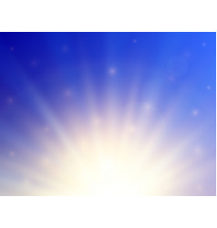 Shining sun with lens flare summer background vector