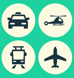 Shipment icons set collection of streetcar cab vector