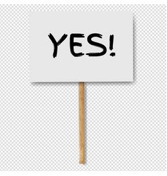 Sign banners with yes text on wood stick vector