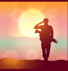 silhouette a solider saluting against the vector image
