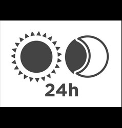 silhouette sun and moon circle icon 24h time vector image