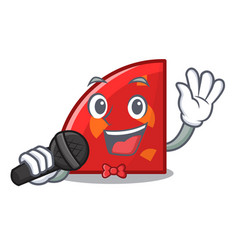 singing quadrant mascot cartoon style vector image