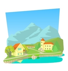 Small town icon cartoon style vector
