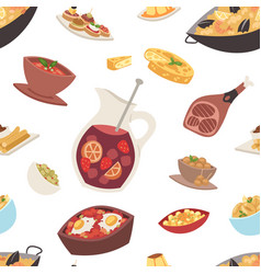 Spain cuisine food cookery traditional dish vector