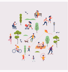 summer season park or weekend in nature themed vector image