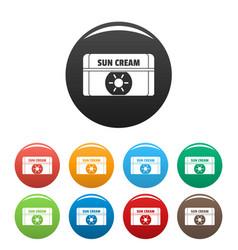 sun cream icons set color vector image
