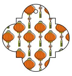 Tag japanese lantern decoration pattern vector
