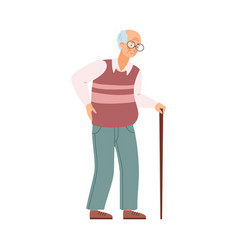 Tired old man elderly unhealthy male character vector