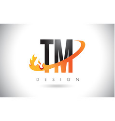 Tm t m letter logo with fire flames design and vector