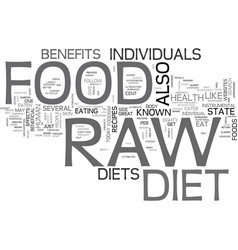 What is raw foodism text word cloud concept vector
