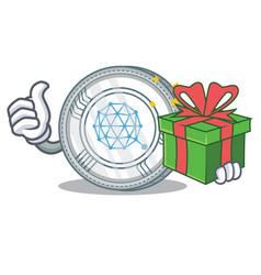 with gift qtum coin character cartoon vector image