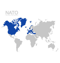 World map with nato member state vector