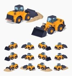 Yellow heavy bulldozer vector image