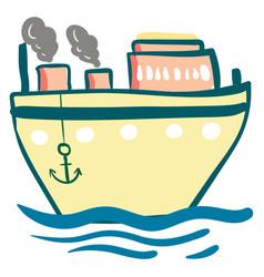 yellow steam ship anchor or color vector image