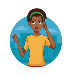 Young with smartphone vector