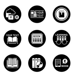 book learning concept round icons vector image vector image