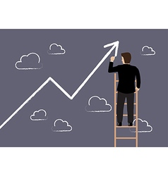 Business man standing on ladder drawing growth vector image vector image