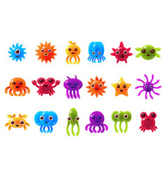cute cute seta creatures sett with different vector image vector image