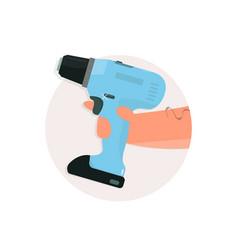 drill in hand cartoon style vector image vector image