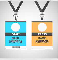 event staff and press id cards set with lanyards vector image