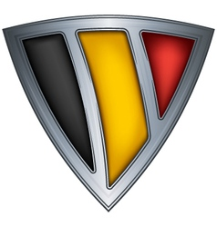 steel shield with flag belgium vector image