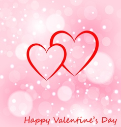 Two hearts greeting card with Valentines day vector image vector image