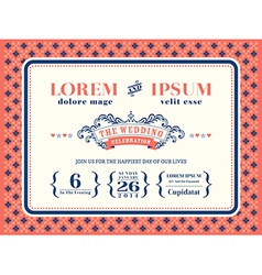 Typography wedding invitation frame template vector