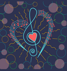 background of musical treble clef vector image vector image