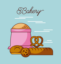 bakery sack of flour with bread cookie and pretzel vector image