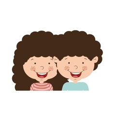 Couple of children half body and curly hair vector