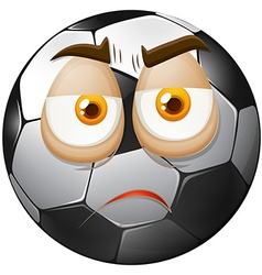 Football with sad face vector image vector image