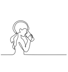 girl drinking water from glass vector image vector image