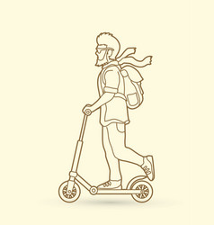 hipster man riding kick scooter vector image vector image