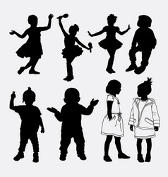 kid and child playing silhouette vector image vector image