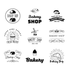 set of bakery and bread logos labels badges and vector image