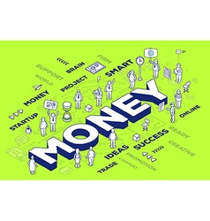 three dimensional word money with people vector image