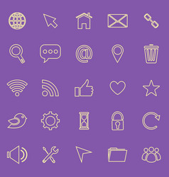 Website line color icons on purple background vector