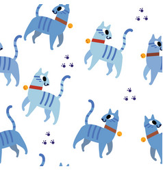 blue cats pattern seamless vector image