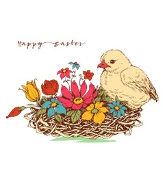 Easter card chicken and a basket of flowers vector image vector image
