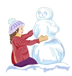 girl and a snowmen vector image