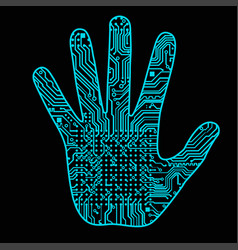 silhouette of a man hand with a high-tech computer vector image